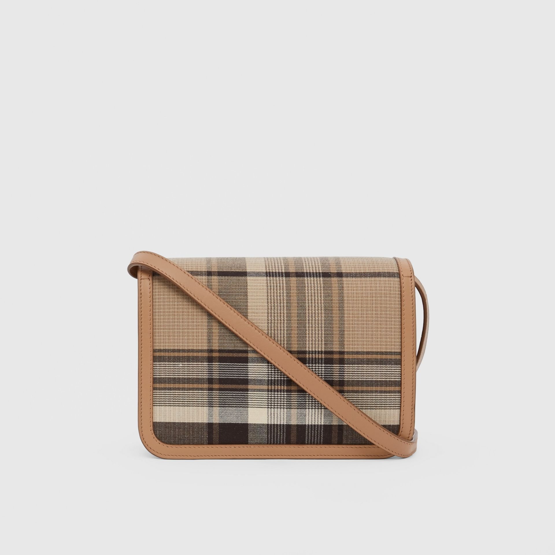 Small Tartan Wool and Leather TB Bag in Light Fawn - Women | Burberry - gallery image 7
