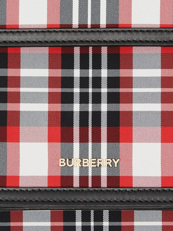 Mini Tartan Nylon and Leather Pocket Bag in Bright Red - Women | Burberry - cell image 1