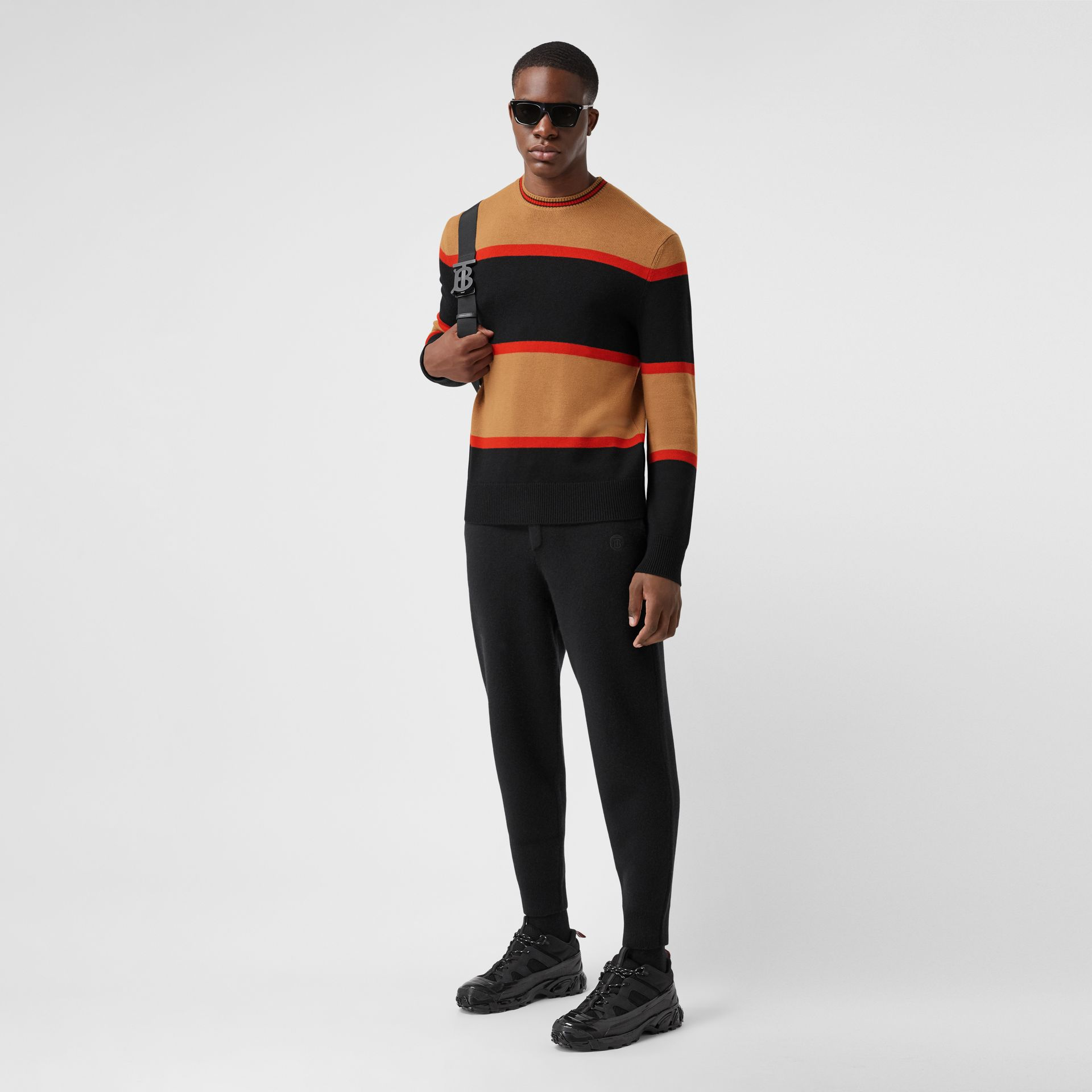 Striped Wool Cashmere Sweater in Black - Men | Burberry - gallery image 4