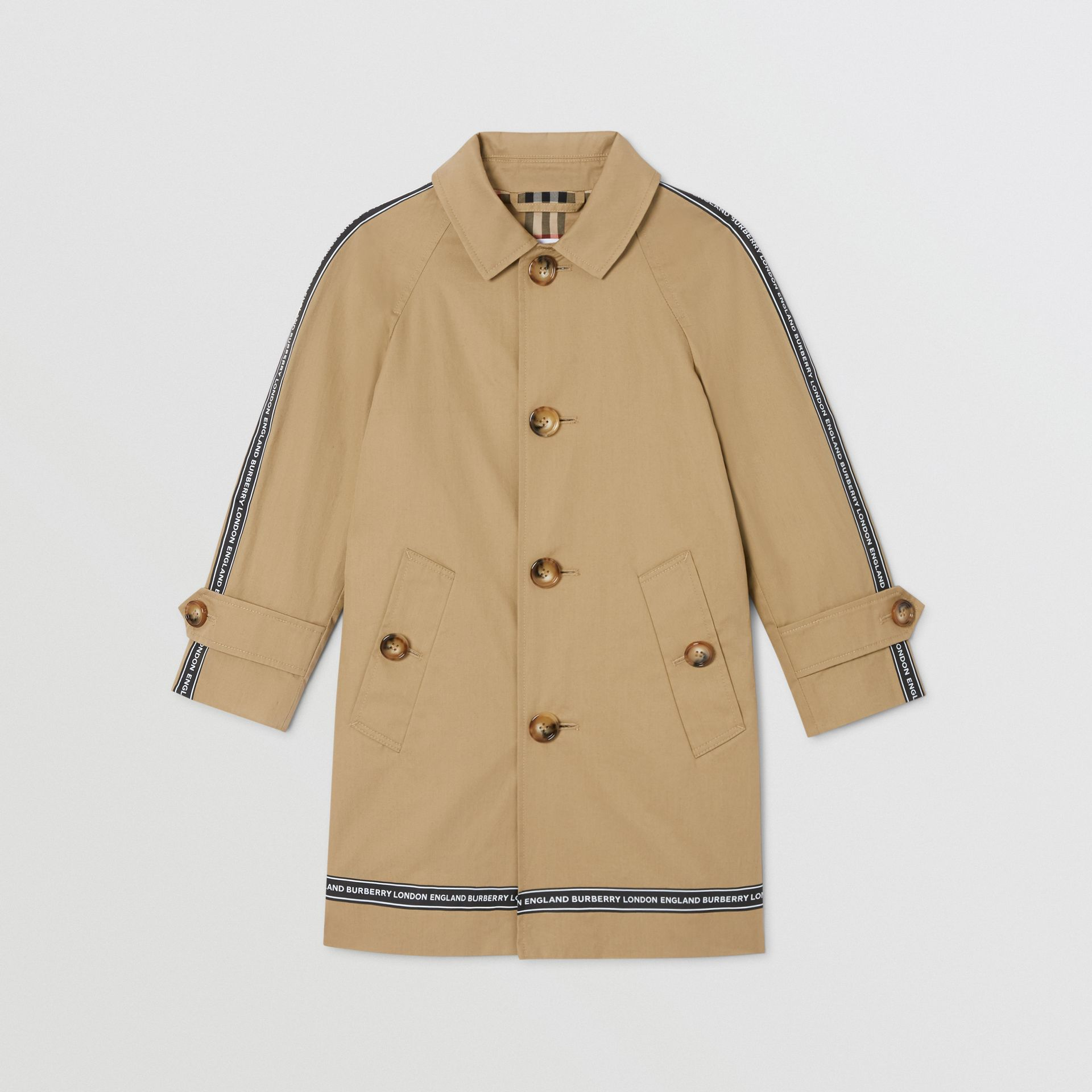 Logo Tape Cotton Car Coat in Honey   Burberry - gallery image 0