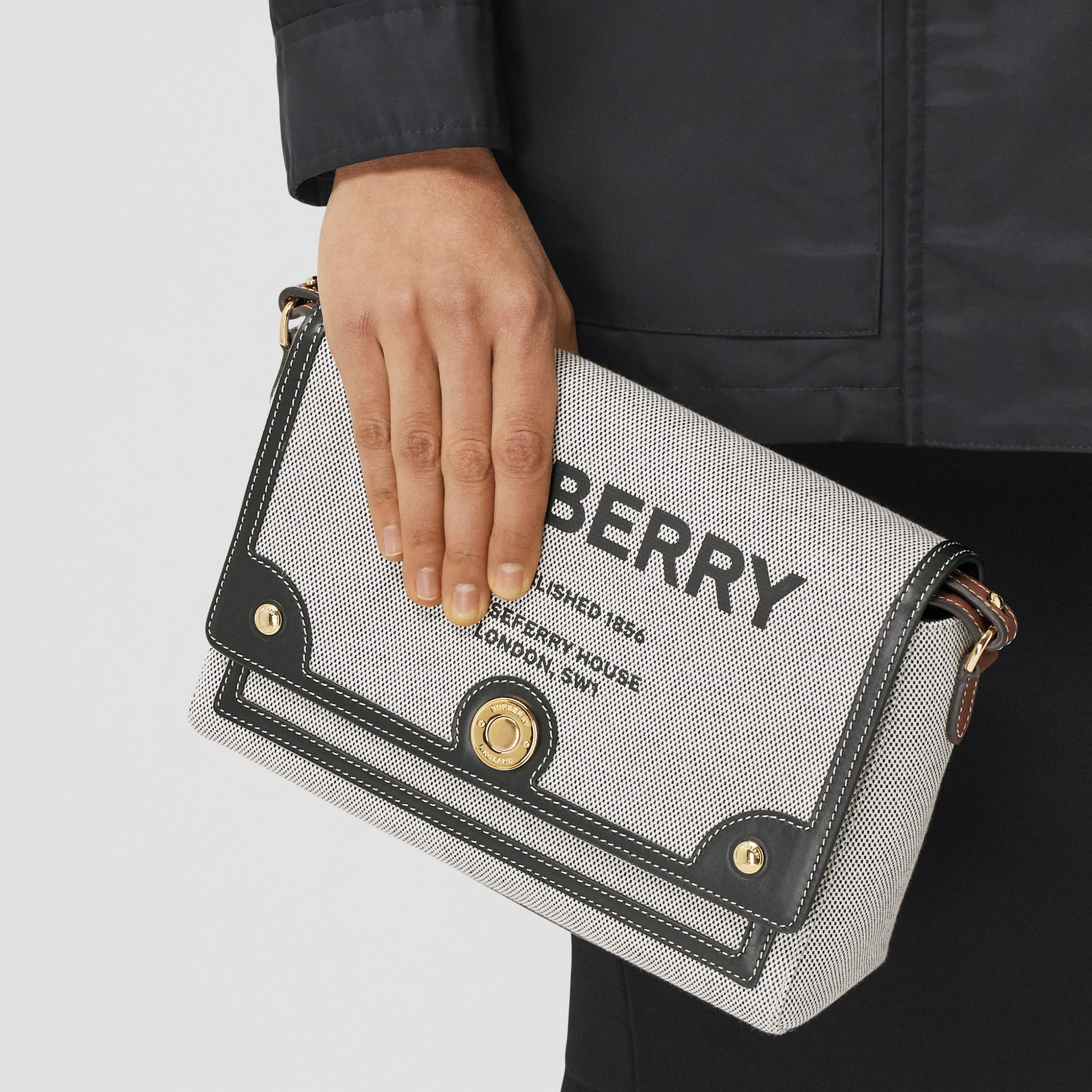 Horseferry Print Canvas Note Crossbody Bag in Black/black/tan - Women | Burberry - gallery image 9
