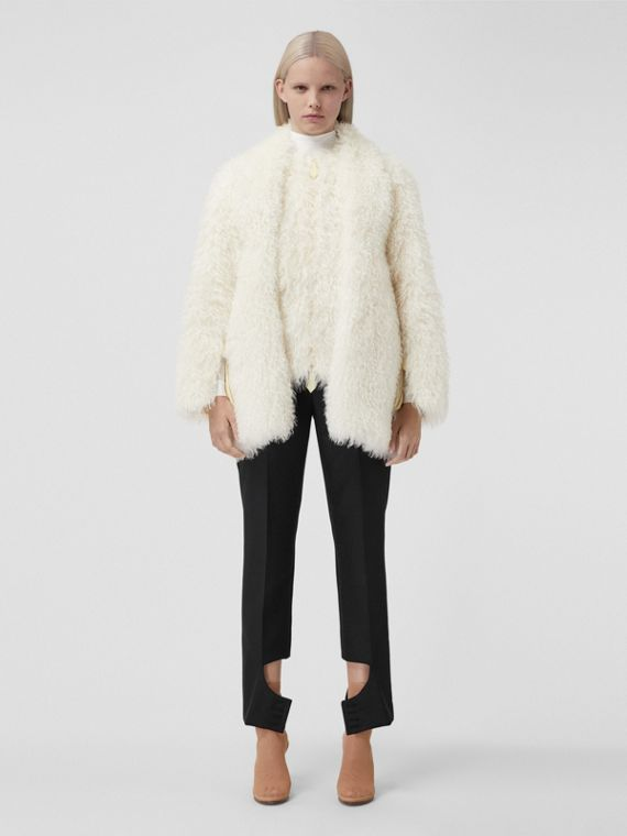 Mohair Blend Teddy Jacket in Natural White
