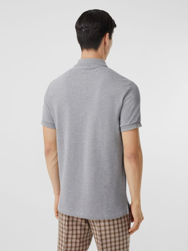 Button Detail Cotton Piqué Polo Shirt in Pale Grey Melange - Men | Burberry - cell image 2