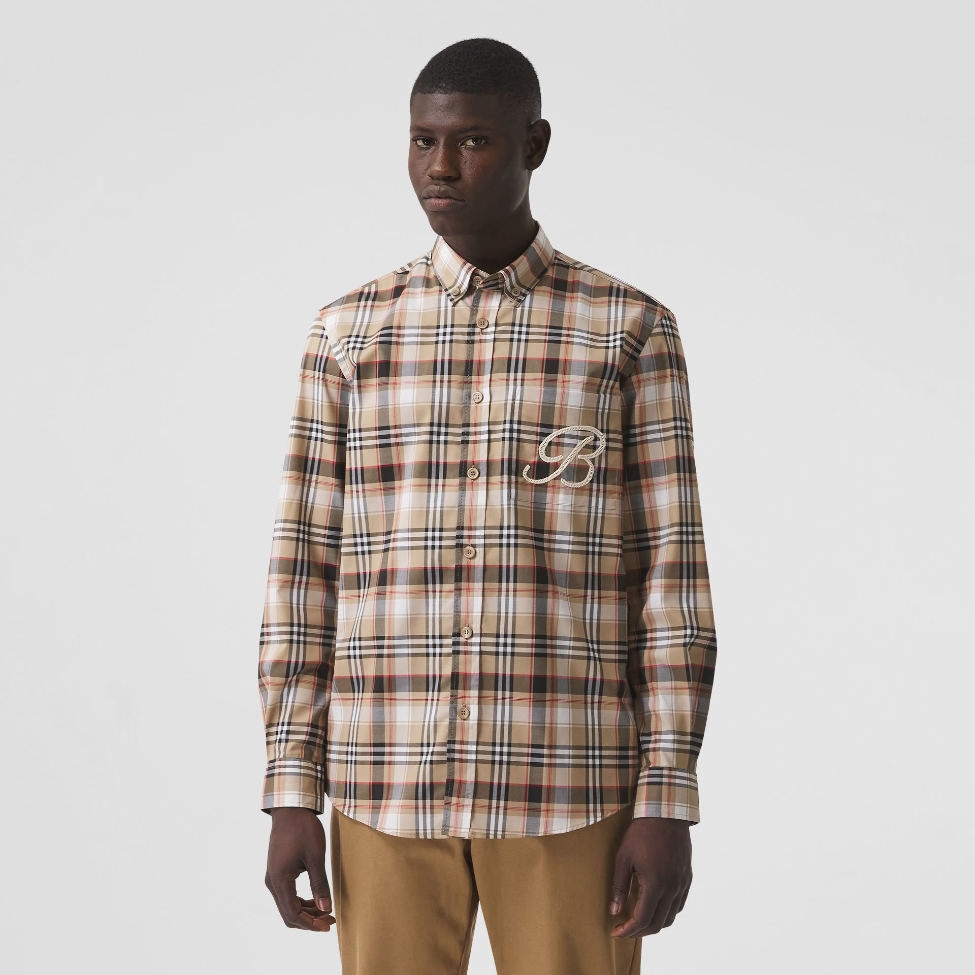 Camisa de algodão stretch com logotipo B bordado (Preto) - Homens | Burberry - galeria de imagens 0