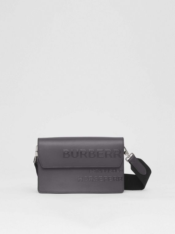 Horseferry Print Leather Crossbody Bag in Sepia Grey