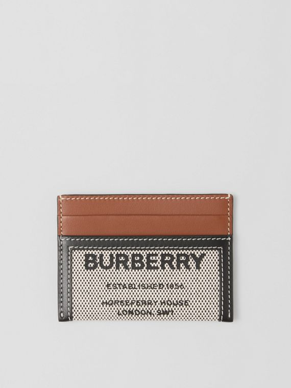 Horseferry Print Cotton Canvas and Leather Card Case in Black/tan