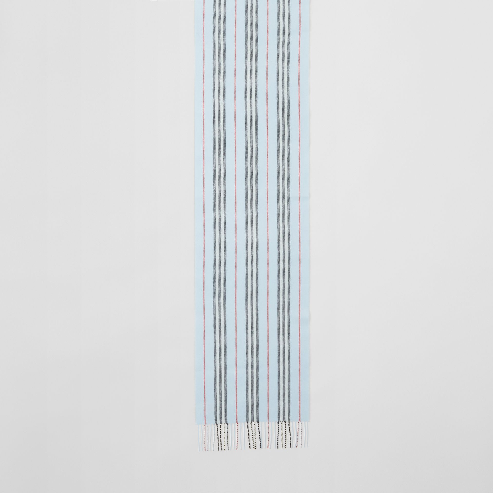 Icon Stripe Cashmere Merino Wool Scarf in Pale Blue | Burberry - gallery image 2