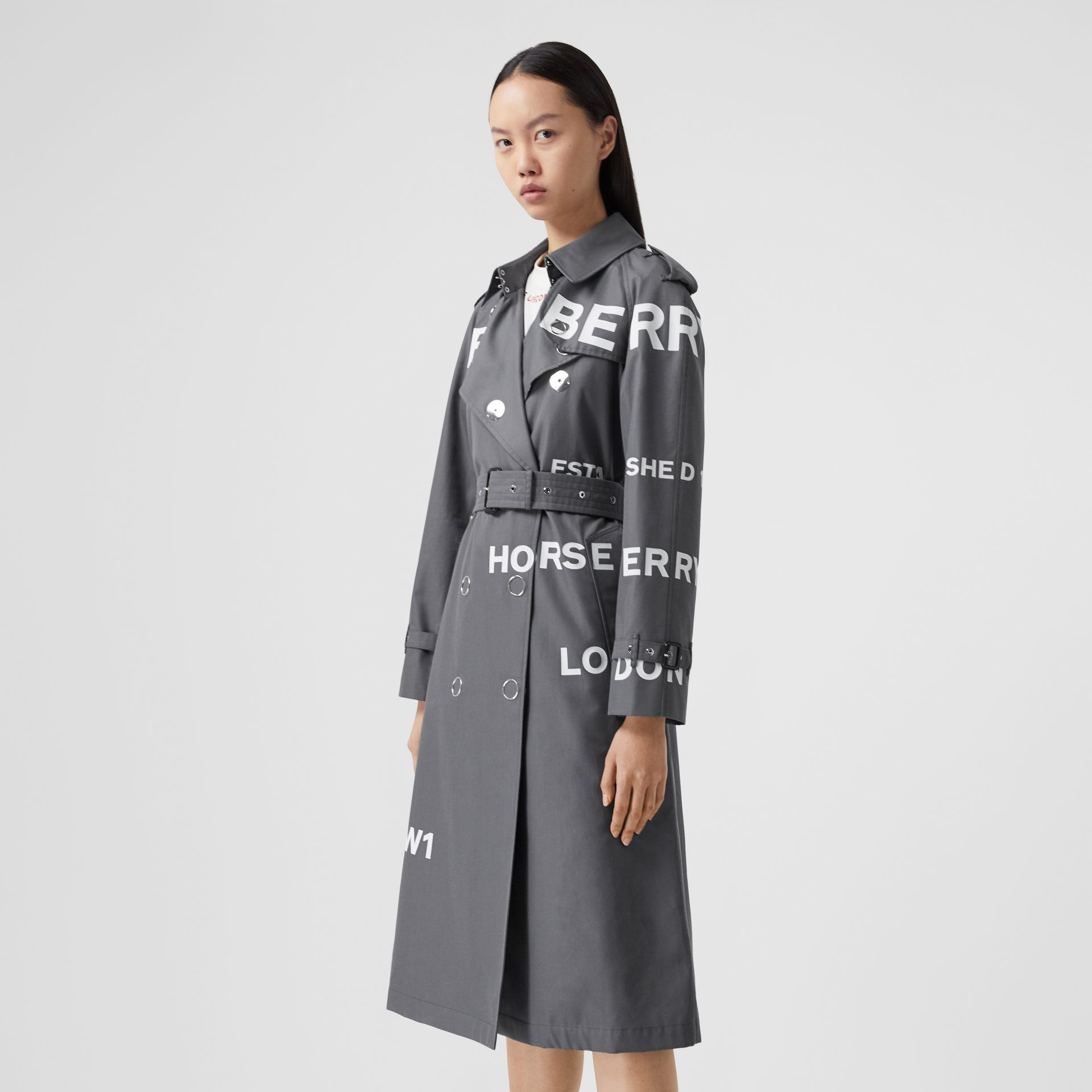 Horseferry Print Cotton Gabardine Trench Coat in Mid Grey - Women | Burberry United Kingdom - gallery image 6