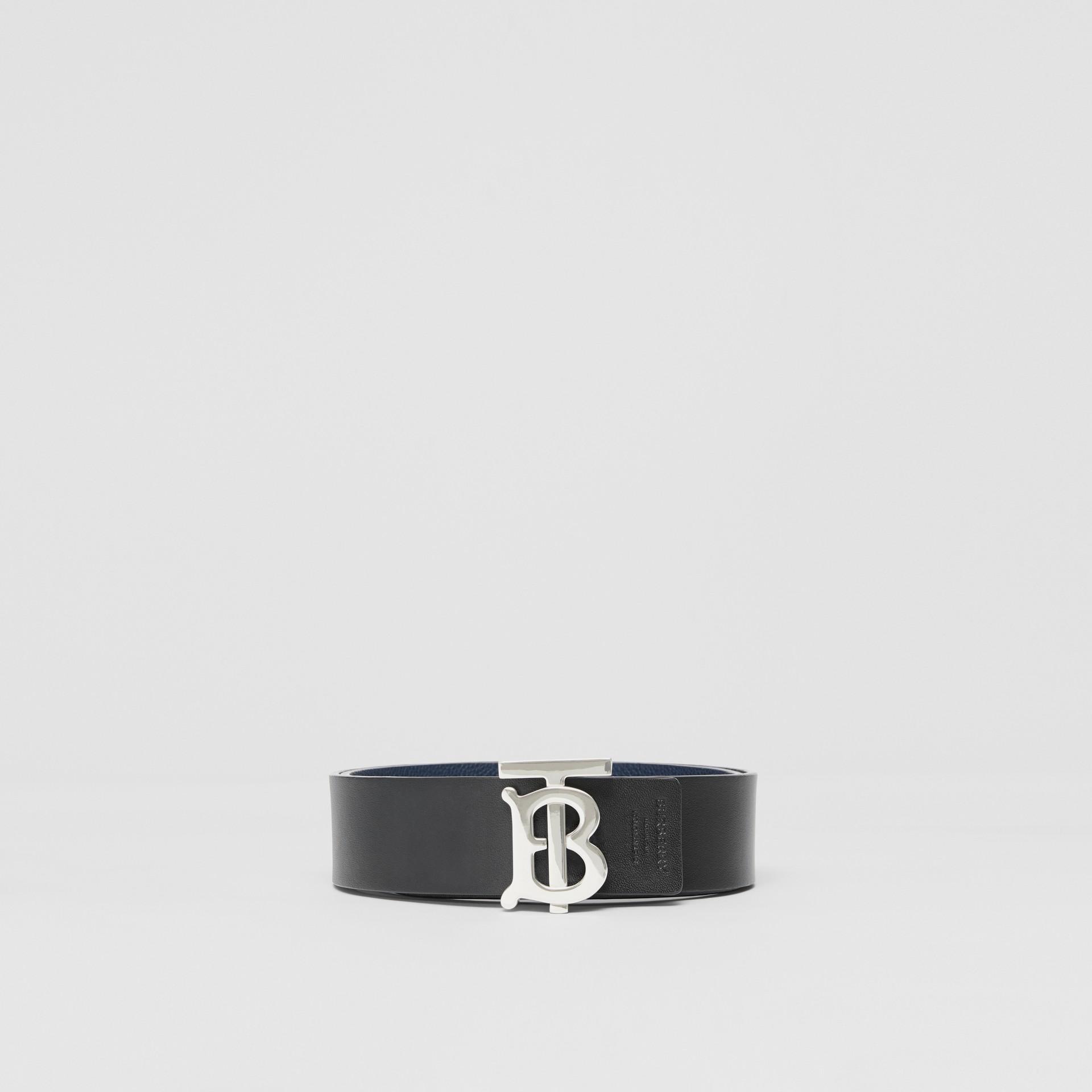 Reversible Monogram Motif Leather Belt in Navy/black - Men | Burberry United Kingdom - gallery image 6