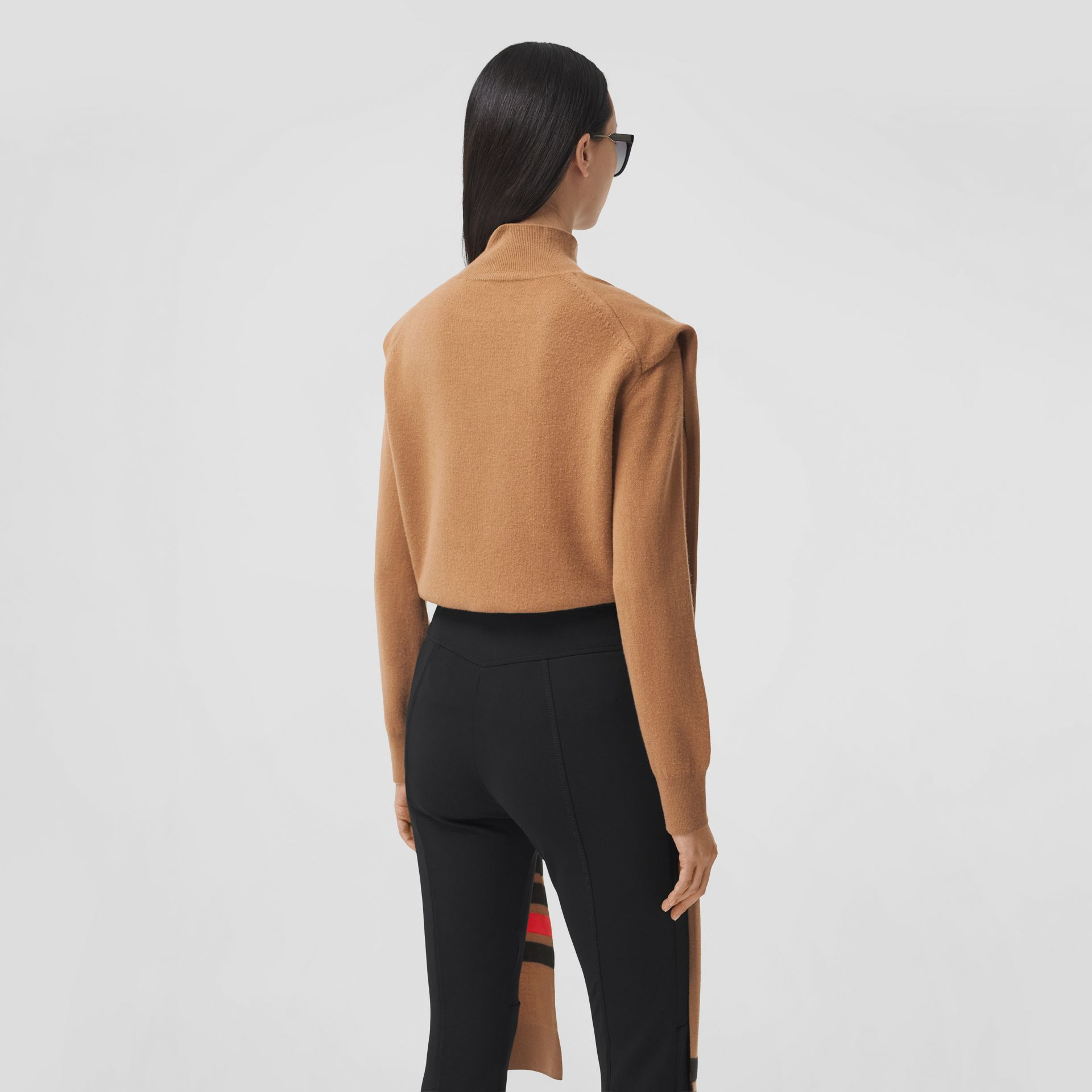 Striped Scarf Detail Merino Wool Cashmere Sweater in Beige - Women | Burberry - gallery image 2