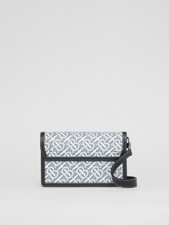 Crossbody-Tasche aus Canvas mit Monogrammmuster und Leder (Babyblau)