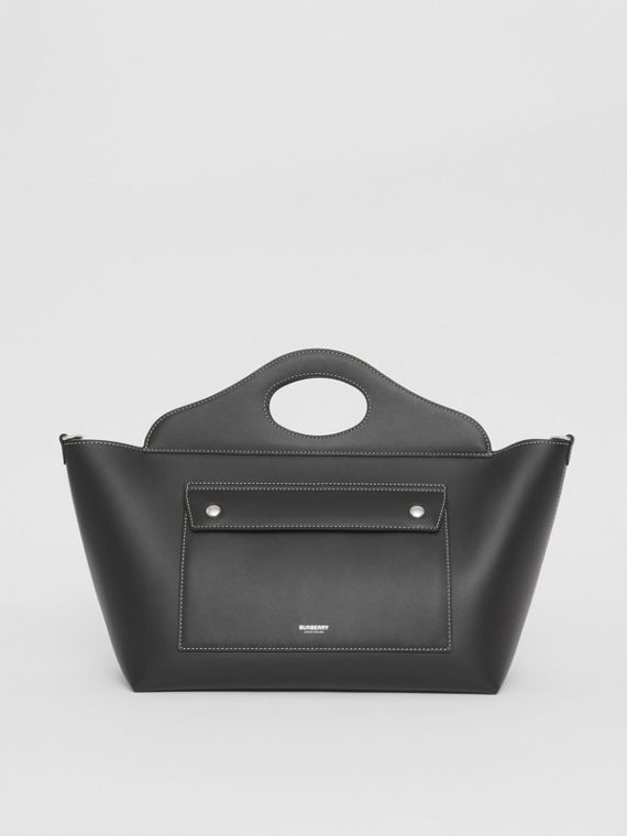 Small Leather Soft Pocket Tote in Black