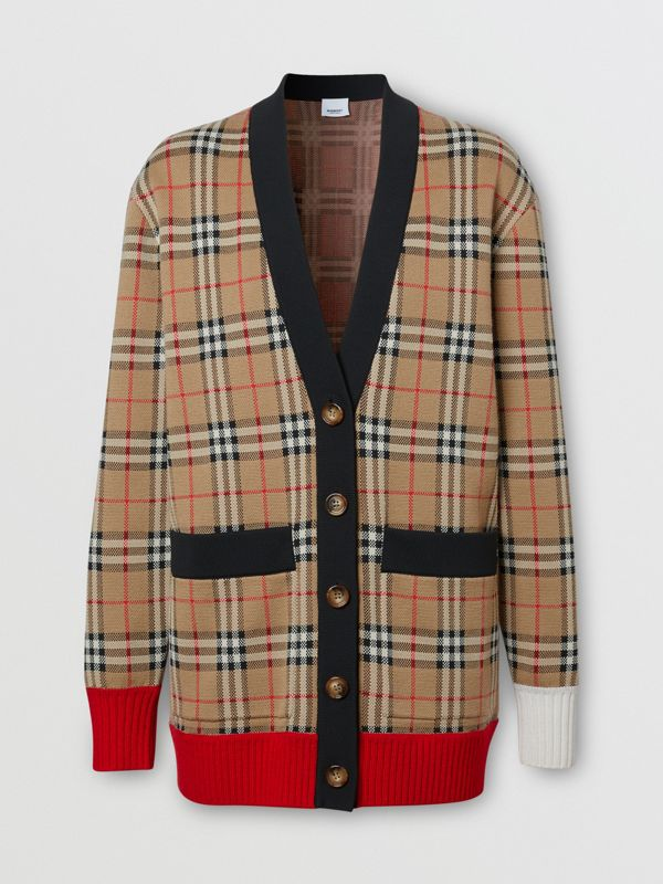 Vintage Check Merino Wool Blend Jacquard Cardigan in Archive Beige - Women | Burberry - cell image 3
