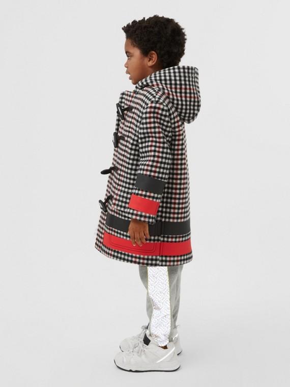 Duffle coat de lã xadrez com estampa de listras (Preto)