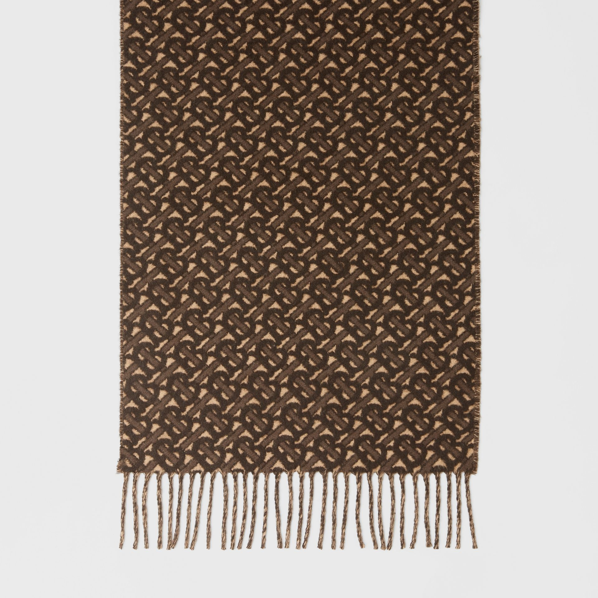 Monogram Cashmere Jacquard Scarf in Bridle Brown | Burberry - gallery image 4