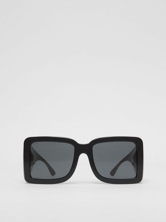 B Motif Square Frame Sunglasses in Black