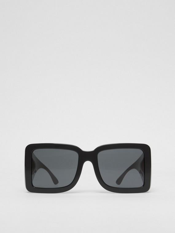 B 圖案方型鏡框太陽眼鏡 (黑色)