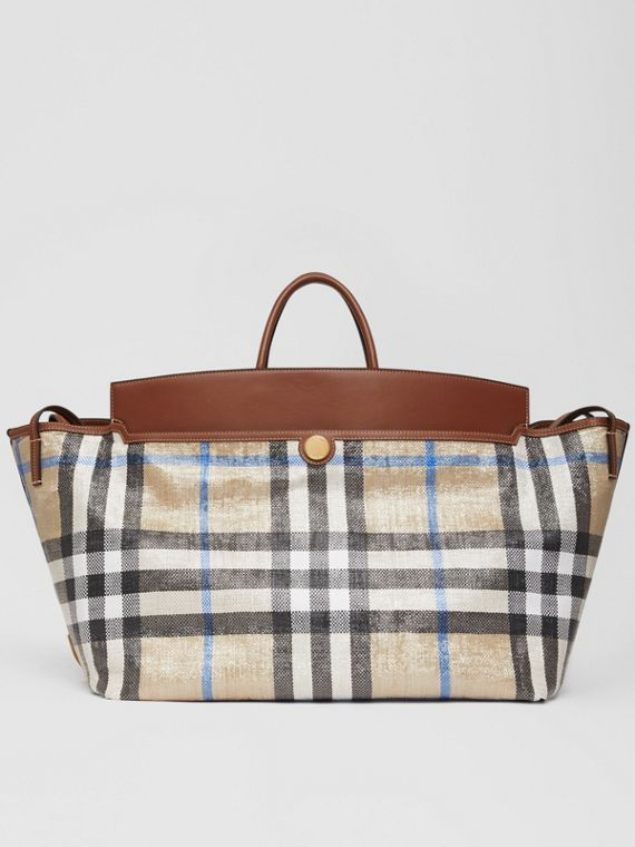 Woven Check and Leather Society Holdall in Dusty Sand