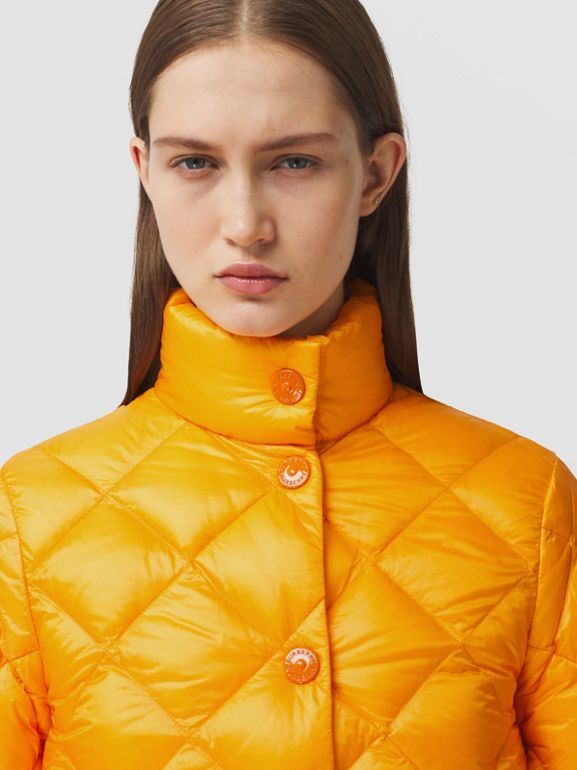 Diamond Quilted Down-filled Jacket in Citrus Orange - Women | Burberry - cell image 1