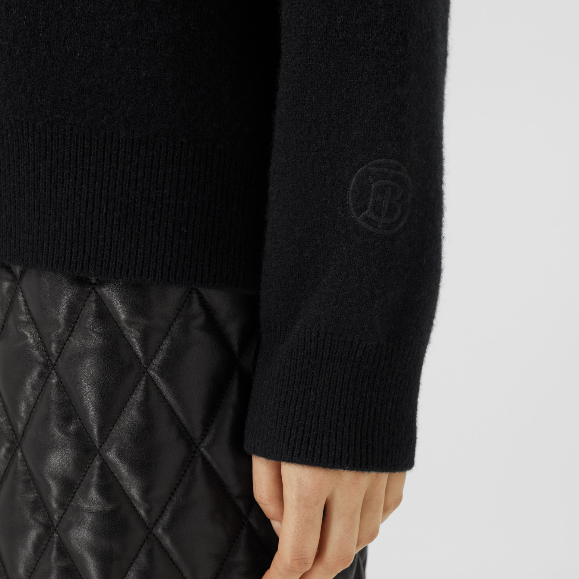 Monogram Motif Cashmere Blend Sweater in Black - Women | Burberry - gallery image 4
