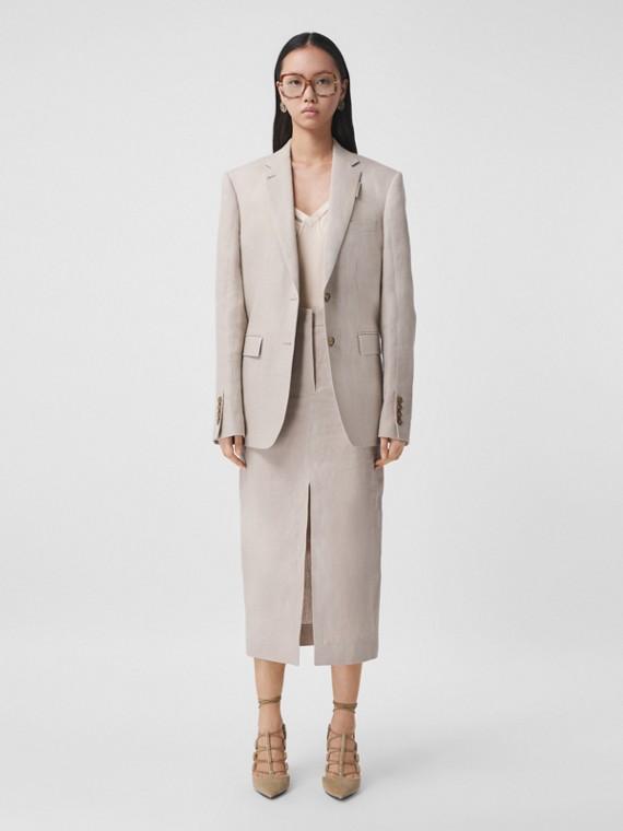 Linen Oversized Tailored Jacket in Oatmeal