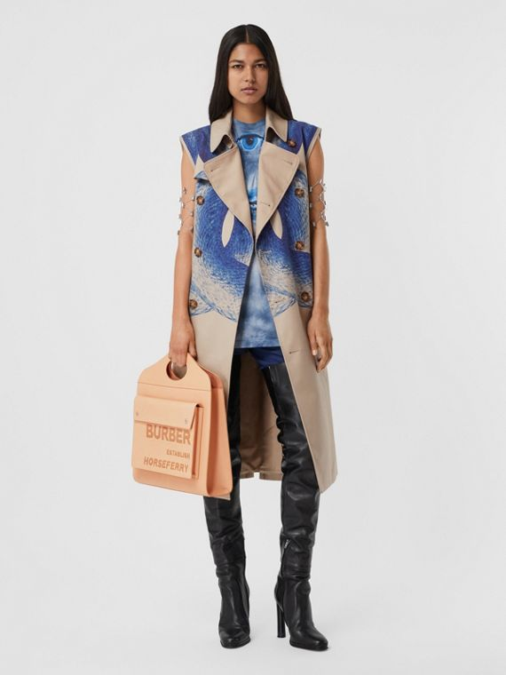Mermaid Tail Print Cotton Sleeveless Trench Coat in Ink Navy