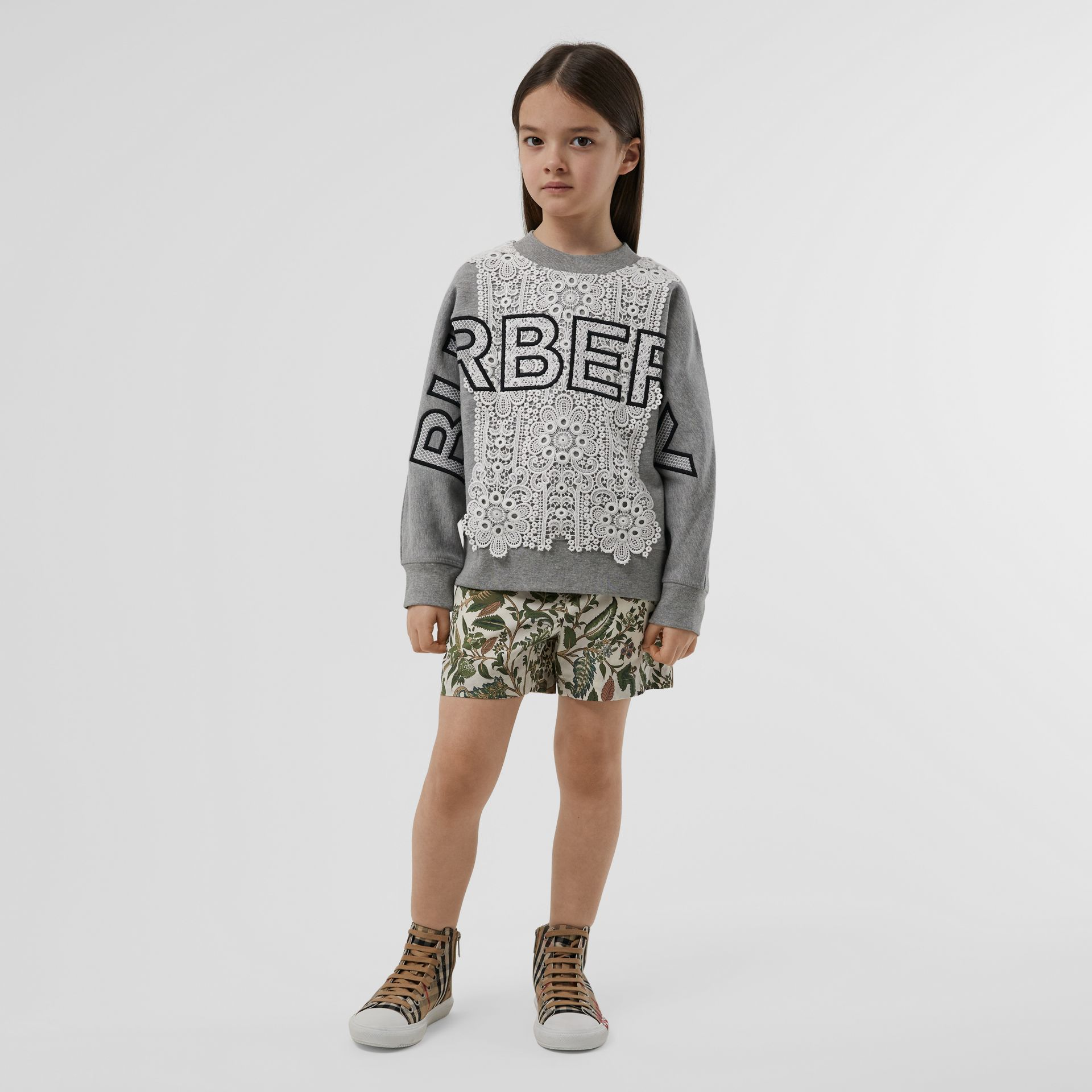 Logo Embroidered Lace Panel Cotton Sweatshirt in Grey Melange | Burberry United Kingdom - gallery image 2