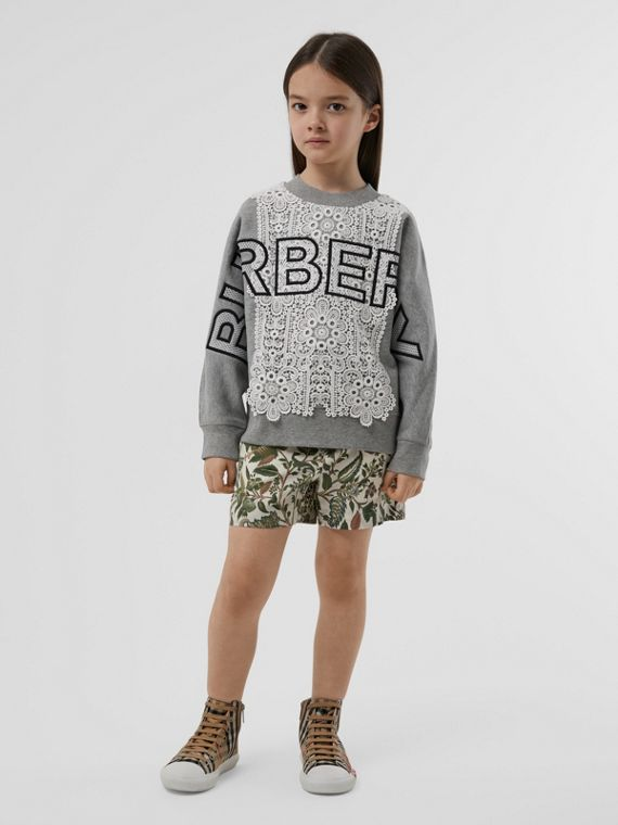 Logo Embroidered Lace Panel Cotton Sweatshirt in Grey Melange