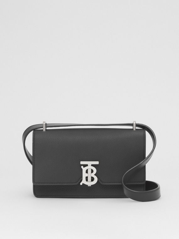 Grainy Leather Low Robin Bag in Black