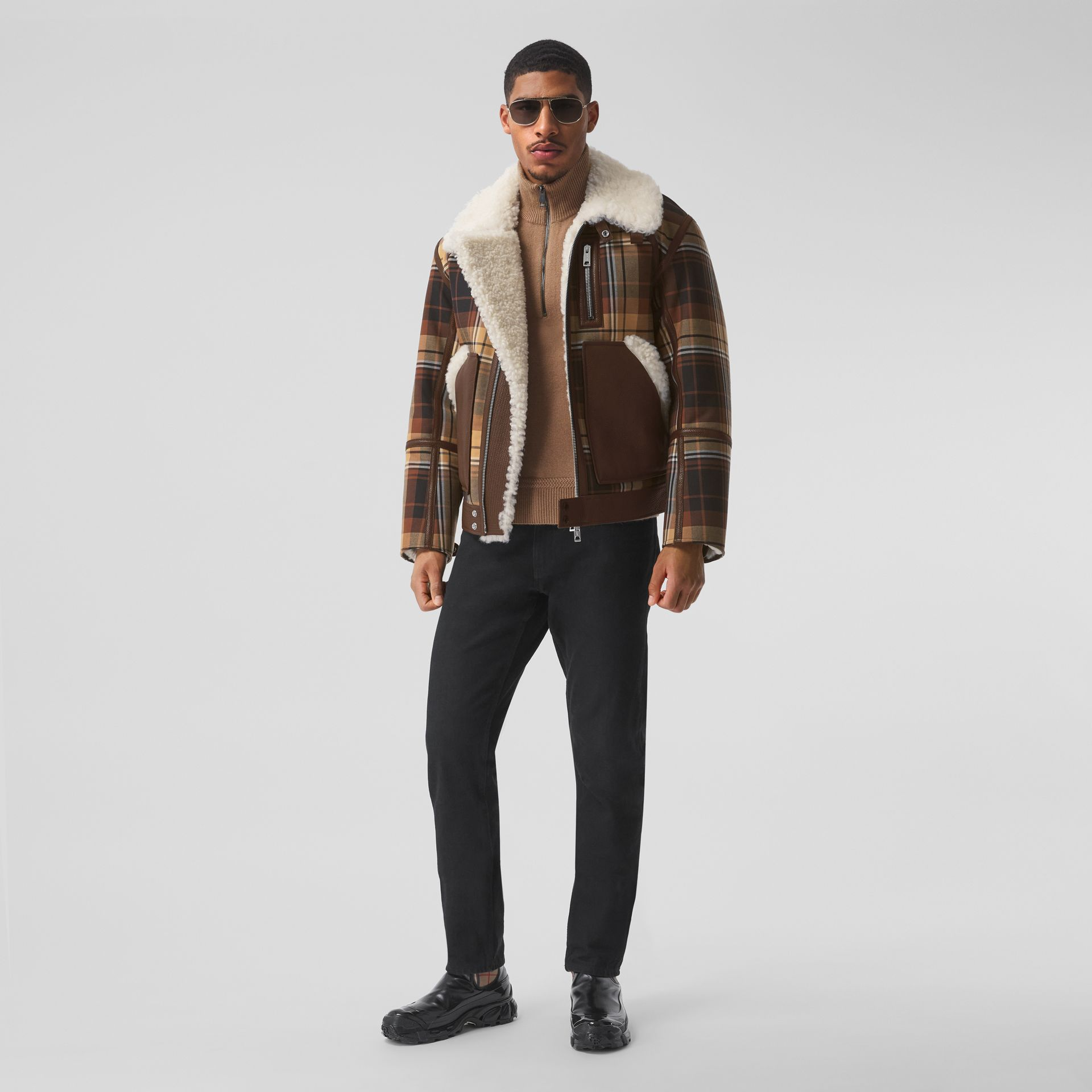 Leather Trim Check Wool and Shearling Flight Jacket in Orange/black - Men | Burberry - gallery image 0