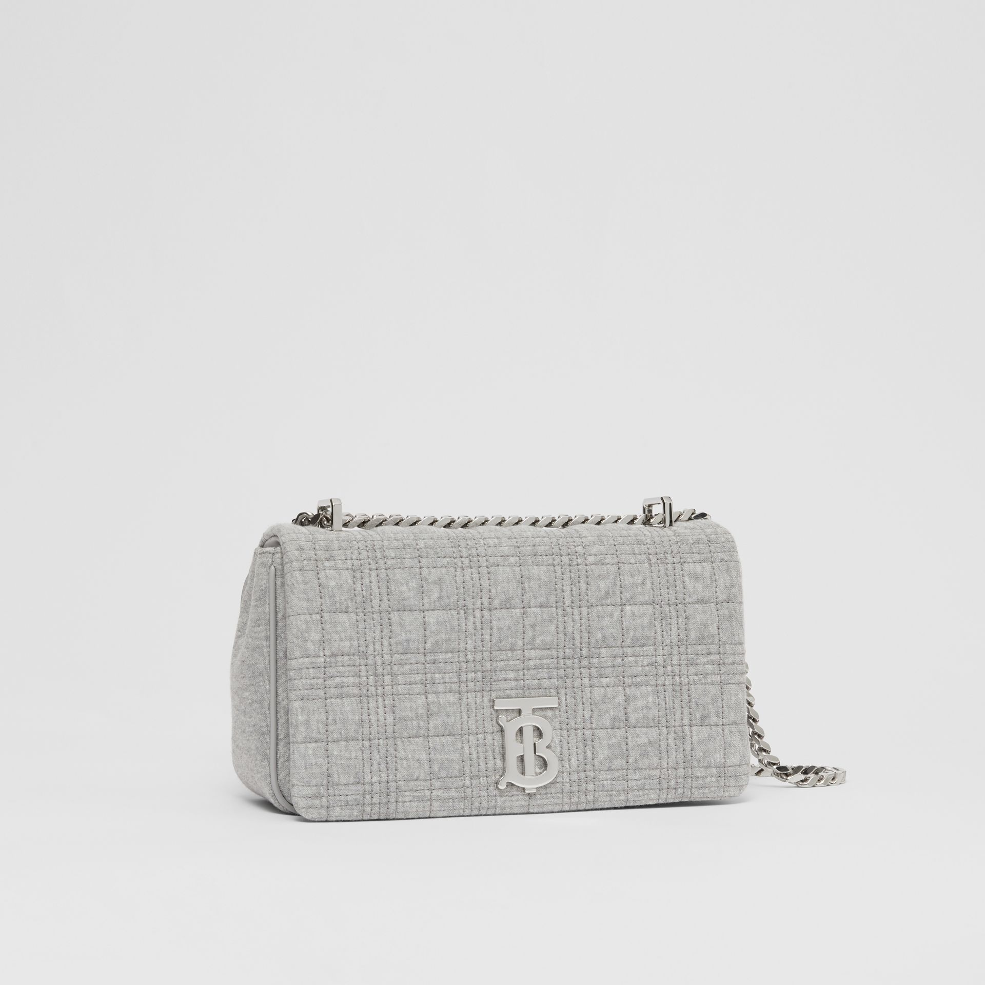 Small Quilted Jersey Lola Bag in Grey Taupe Melange | Burberry - gallery image 4