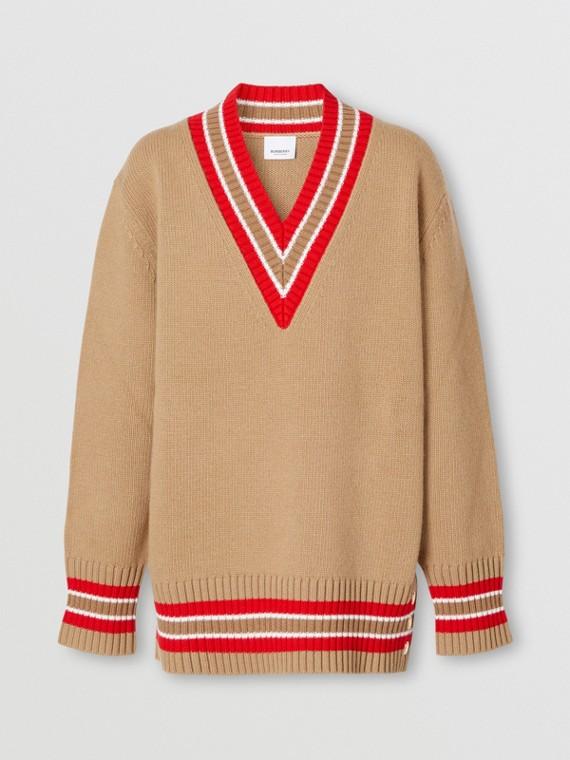 Wool Oversized Cricket Sweater in Camel