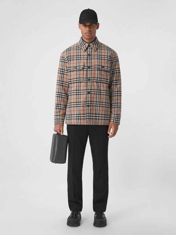Vintage Check Wool Cotton Overshirt in Archive Beige