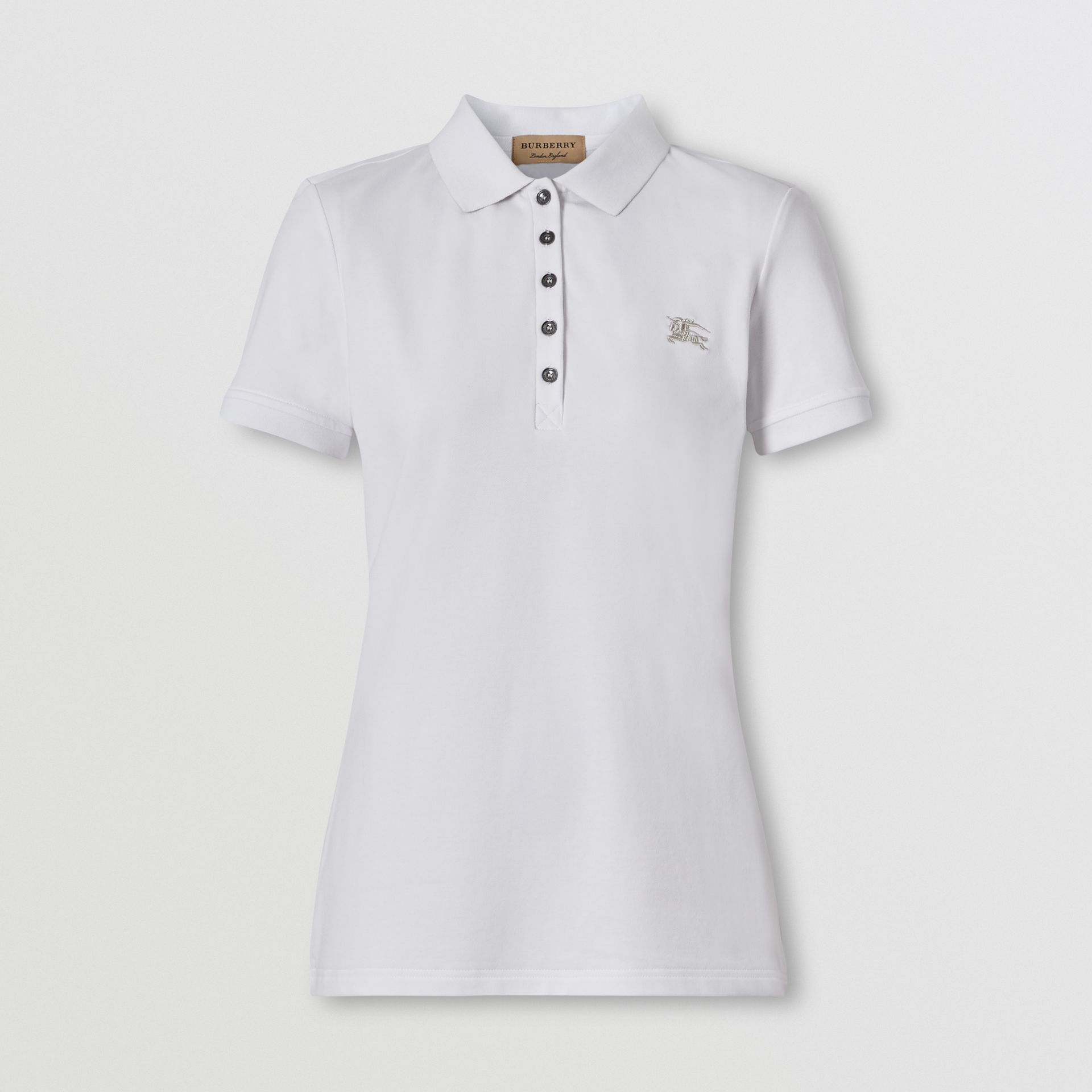 Check Trim Stretch Cotton Polo Shirt in White - Women | Burberry - gallery image 0