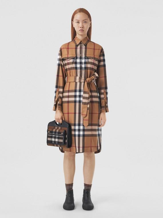 Check Wool Tie-waist Shirt Dress in Birch Brown