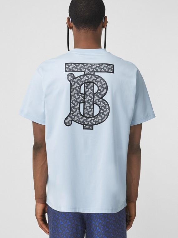 Oversize-T-Shirt aus Baumwolle mit Monogrammmotiv (Hellblau)