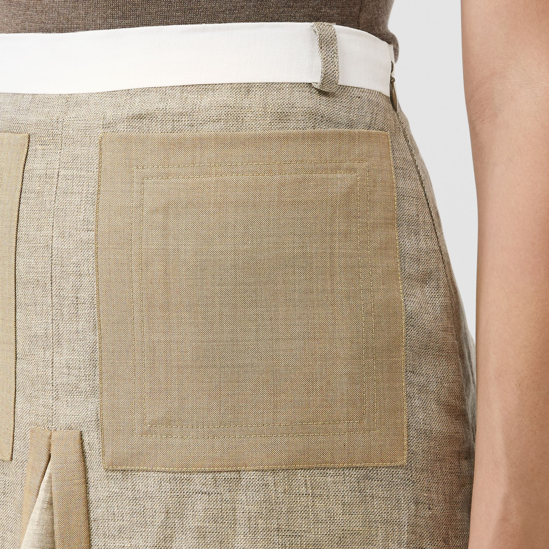 Contrast Seam and Box-pleat Detail Linen A-line Skirt in Cedar Brown Melange - Women | Burberry - gallery image 1