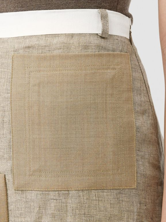 Contrast Seam and Box-pleat Detail Linen A-line Skirt in Cedar Brown Melange - Women | Burberry - cell image 1