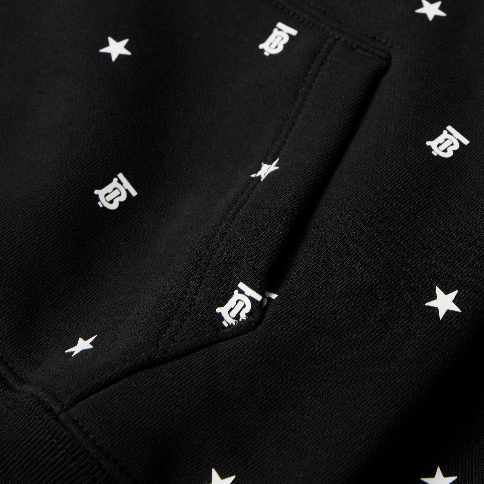 Star and Monogram Motif Cotton Sweatshirt in Black | Burberry - gallery image 1