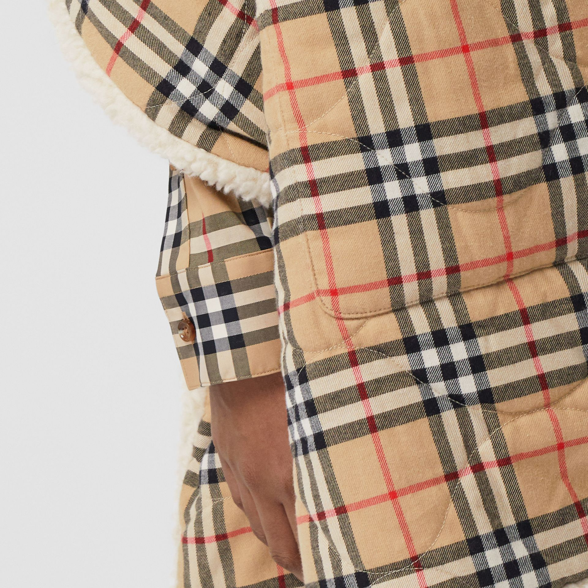 Fleece-lined Vintage Check Cotton Hooded Cape in Camel - Women | Burberry Canada - gallery image 1