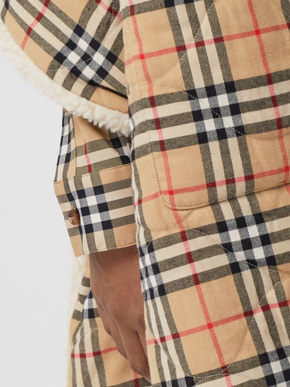 Fleece-lined Vintage Check Cotton Hooded Cape in Camel - Women | Burberry Canada - cell image 1