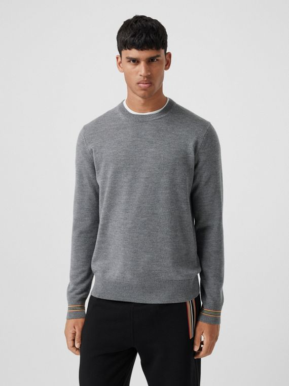 Icon Stripe Trim Merino Wool Sweater in Mid Grey Melange