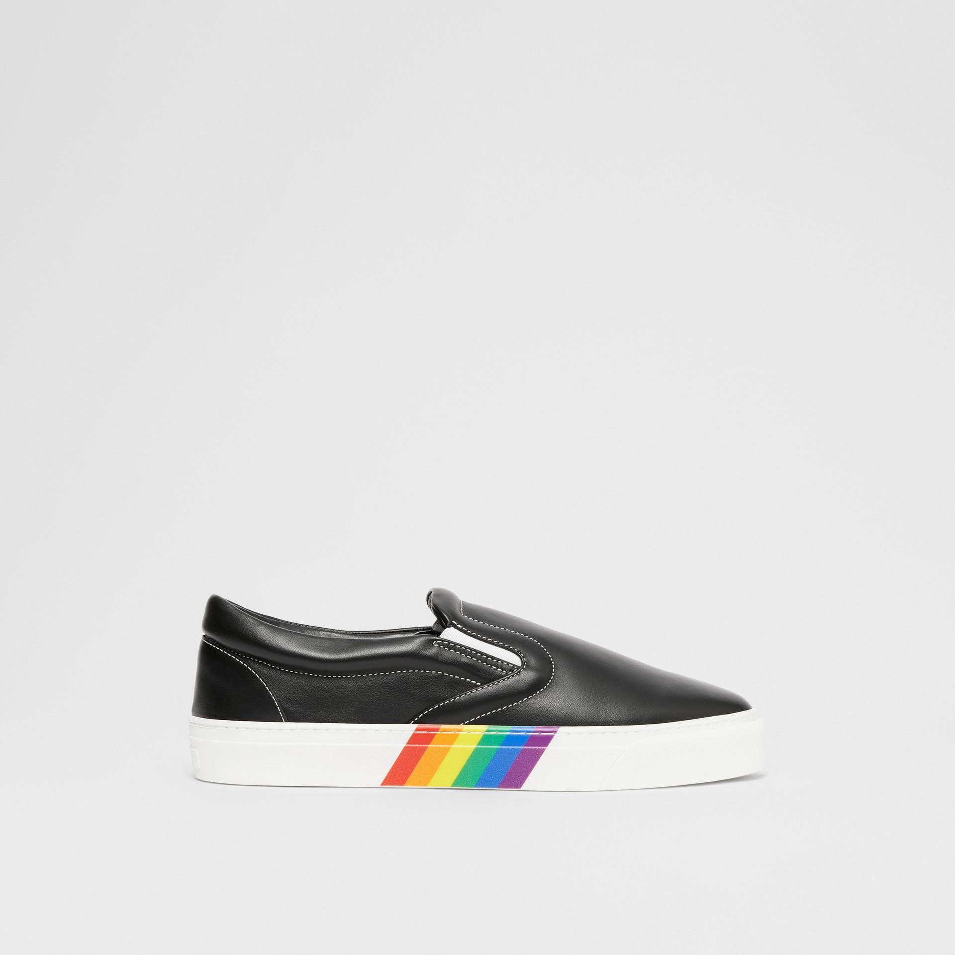 Rainbow Print Leather Slip-on Sneakers in Black - Women   Burberry United Kingdom - gallery image 5