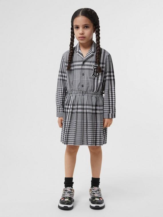 長袖花押字圖案格紋棉質洋裝 (黑色)