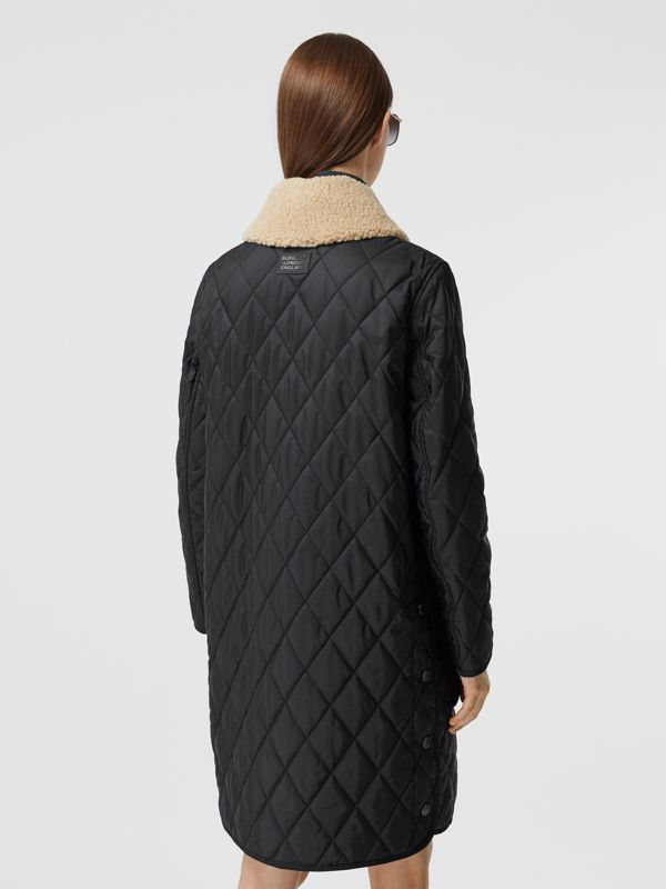 Detachable Fleece Collar Diamond Quilted Coat in Black - Women | Burberry - cell image 2