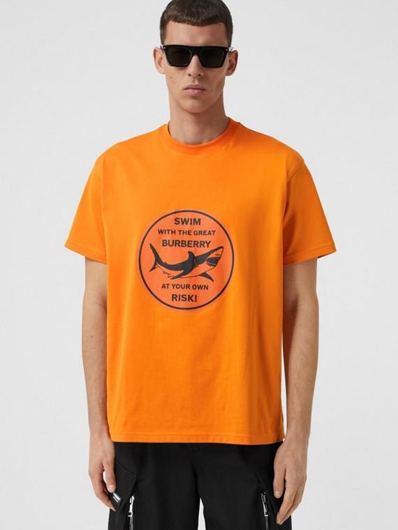 Shark Graphic Cotton Oversized T-shirt in Deep Orange