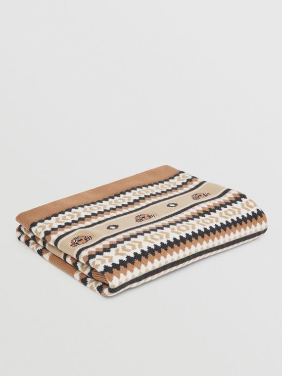 Fair Isle Wool Cashmere Baby Blanket in Camel
