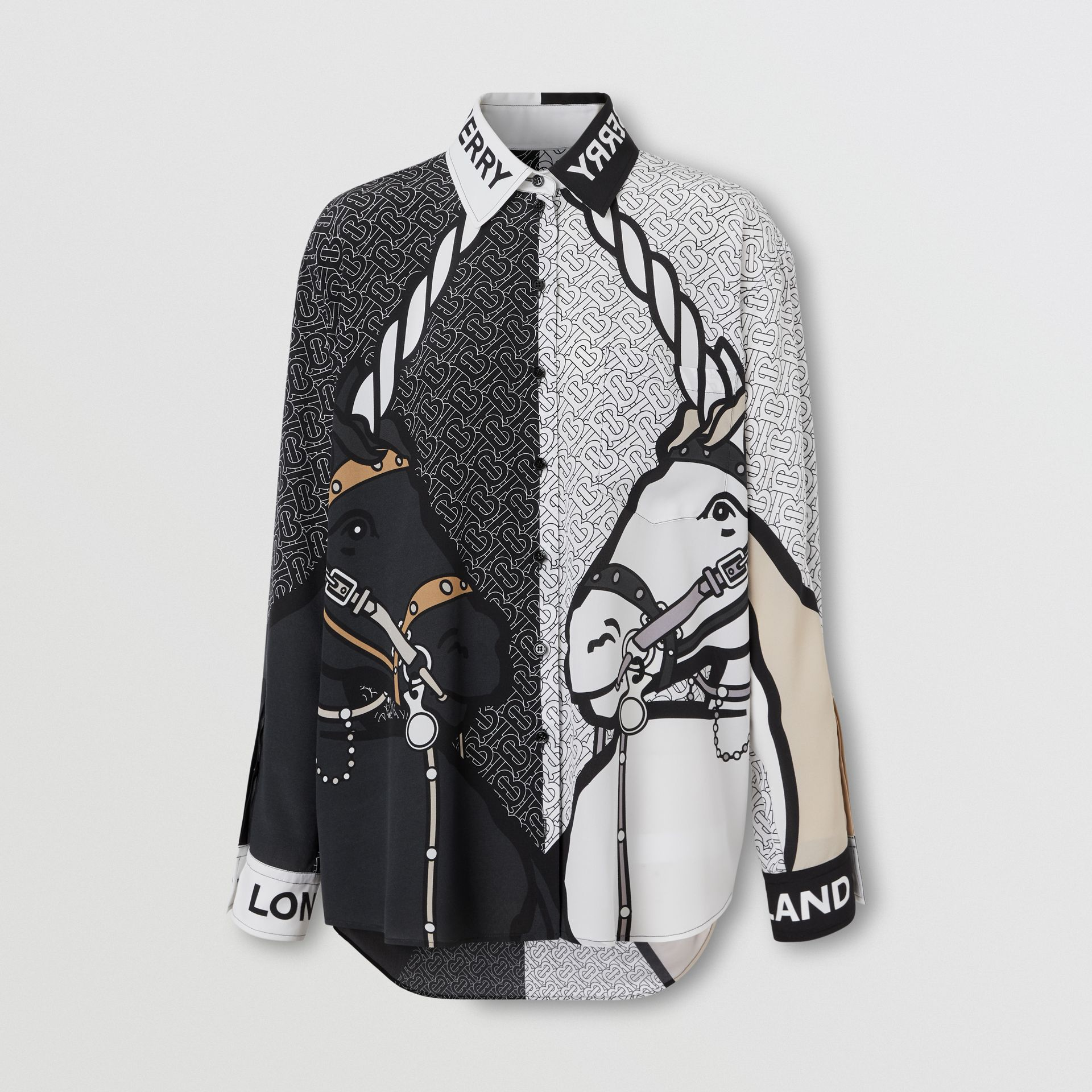 Unicorn Print Silk Crepe De Chine Shirt in Black - Women | Burberry - gallery image 3