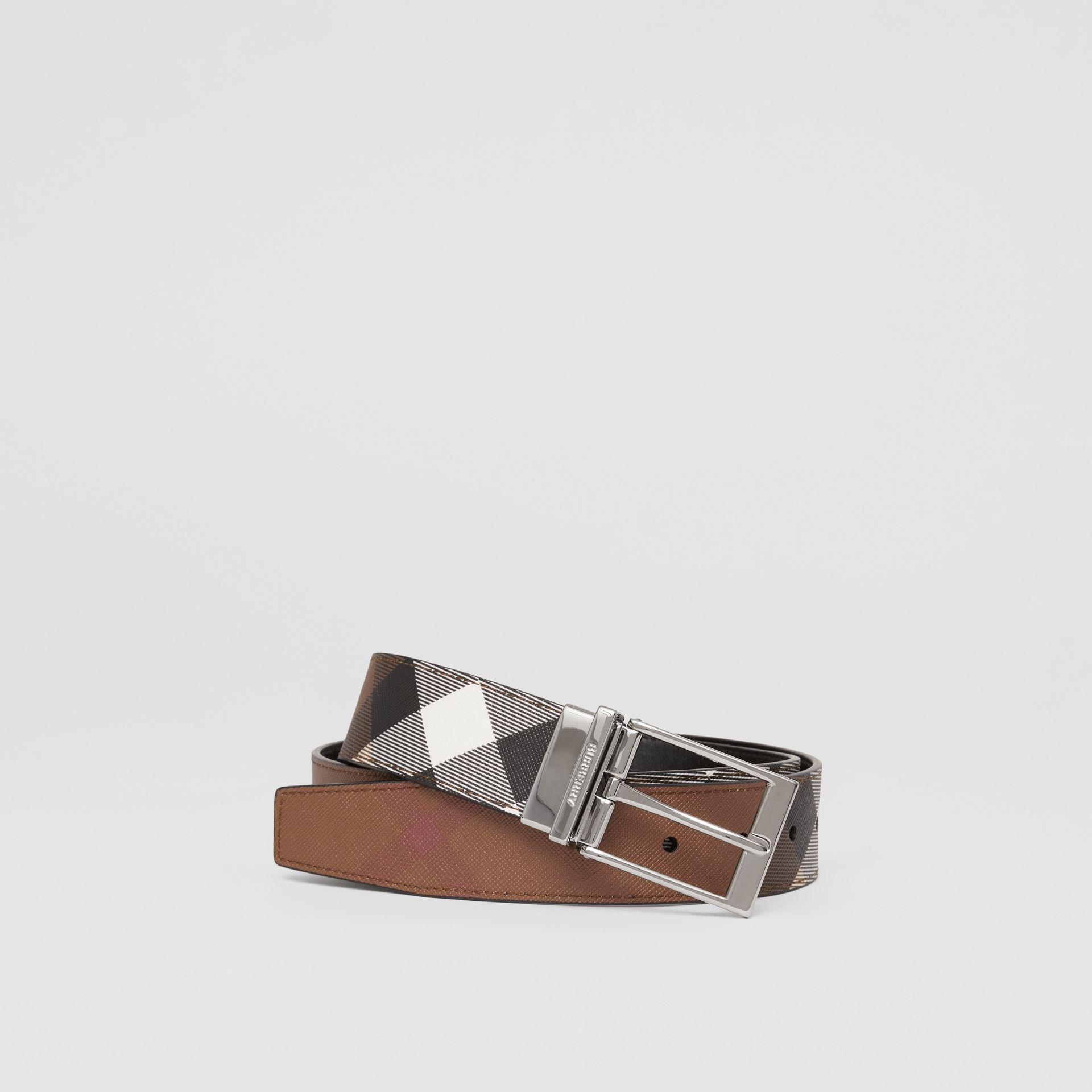 Reversible Check E-canvas and Leather Belt in Dark Birch Brown/black - Men | Burberry - gallery image 0