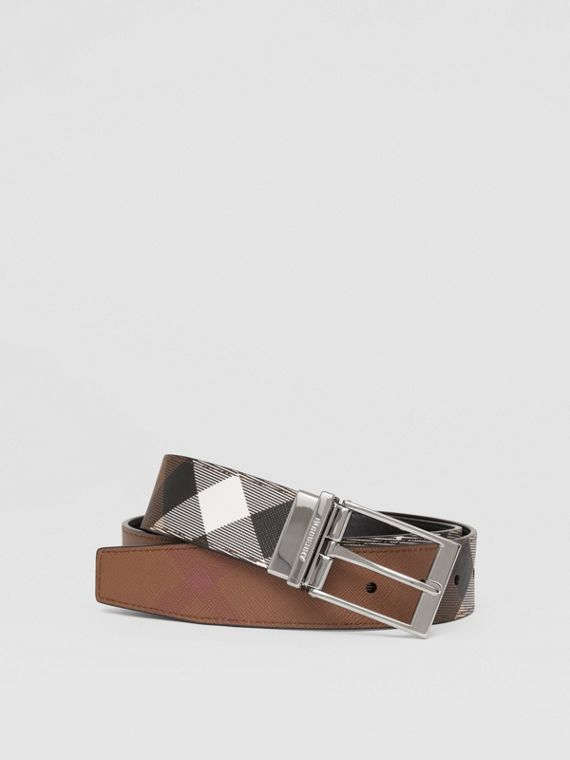 Reversible Check E-canvas and Leather Belt in Dark Birch Brown/black